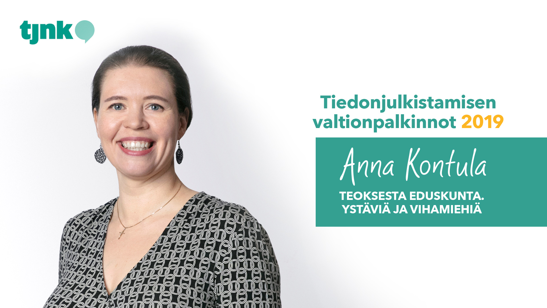 Tiedonjulkistamisen valtionpalkinnon 2019 saanut Anna Kontula.