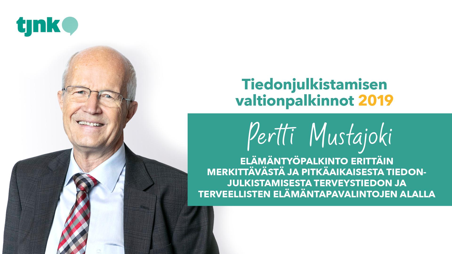 Tiedonjulkistamisen elämäntyöpalkinnon 2019 saanut Pertti Mustajoki.