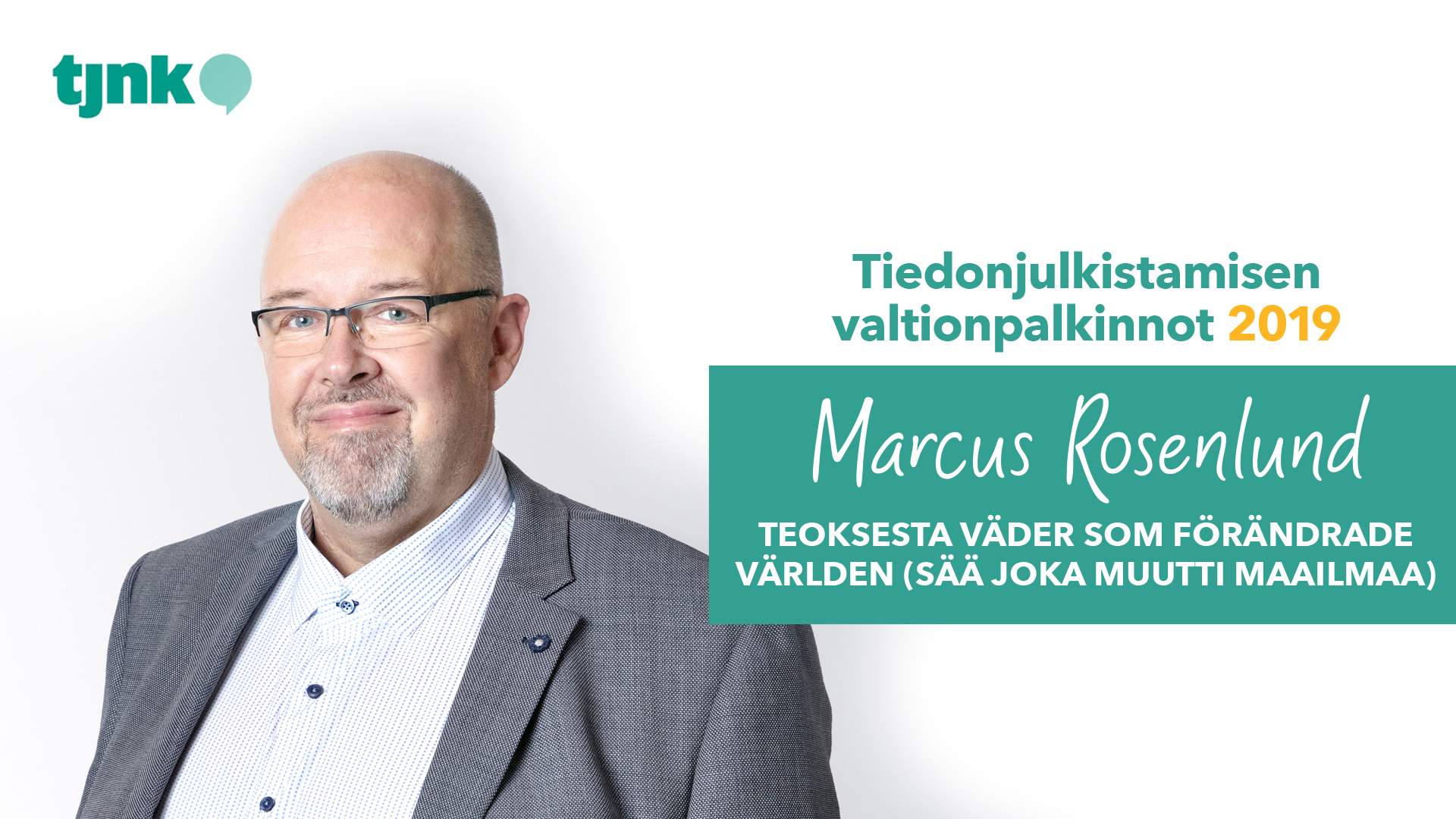 Tiedonjulkistamisen valtionpalkinnon 2019 saanut Marcus Rosenlund.